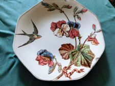 ANTIQUE OCTAGONAL PLATE POWELL BISHOP STONIER SWALLOW SWEET PEAS KENSINGTON 4448